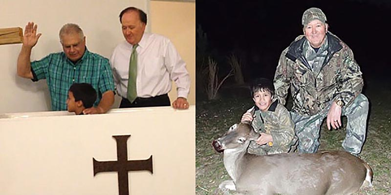 Pastor Dees (left), Justin (center), Royce (right). Justin is being baptized after professing faith in Jesus Christ. Right: Justin's first deer.